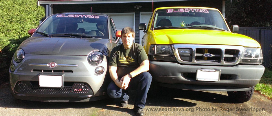 Image of Roger Swearingen and his Fiat 500E, and a Ford Ranger electric pickup truck.